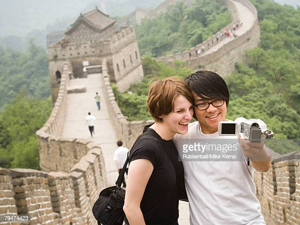 Young couple at the Great Wall of China