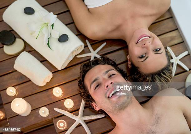 Young couple at the spa