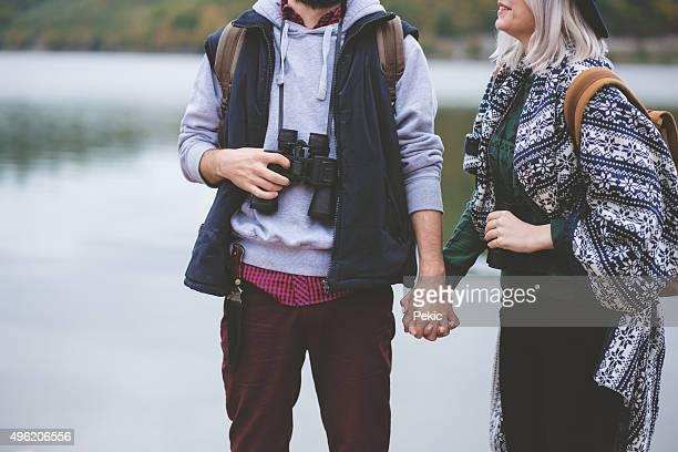 Young couple backpackers