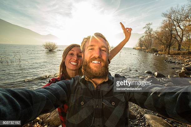 Young couple capturing beautiful moments with a selfie portrait