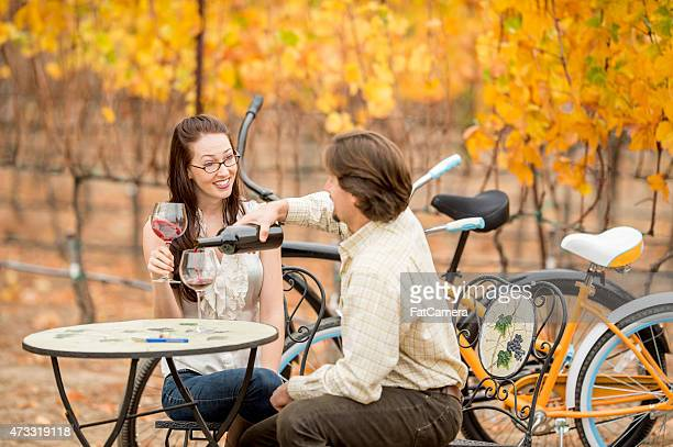 Young Couple Enjoying a Vineyard