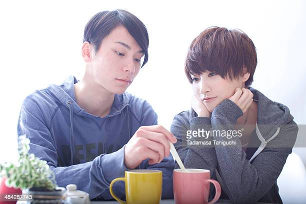 Young couple enjoying coffee