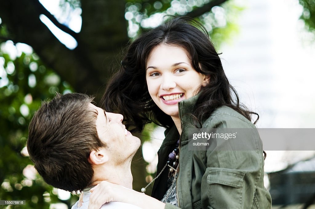 Young couple enjoying outdoors : Stock Photo