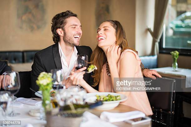 Young couple having a meal at restaurant