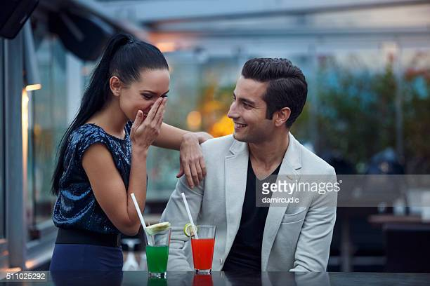 Young couple having fun in a club