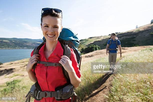 Young couple hiking, Oregon, USA