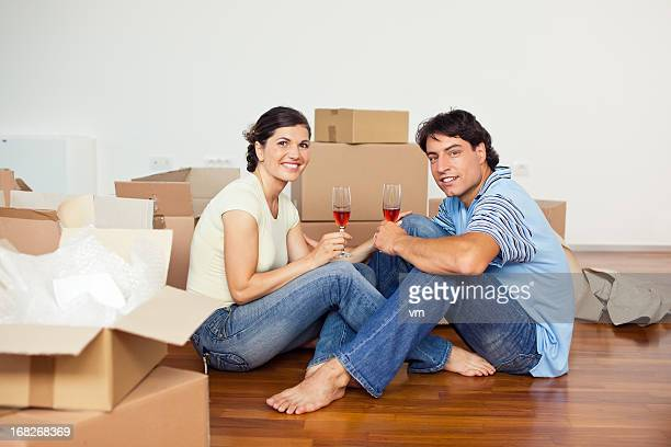 Young couple in a new flat