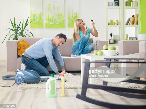 young couple in living room