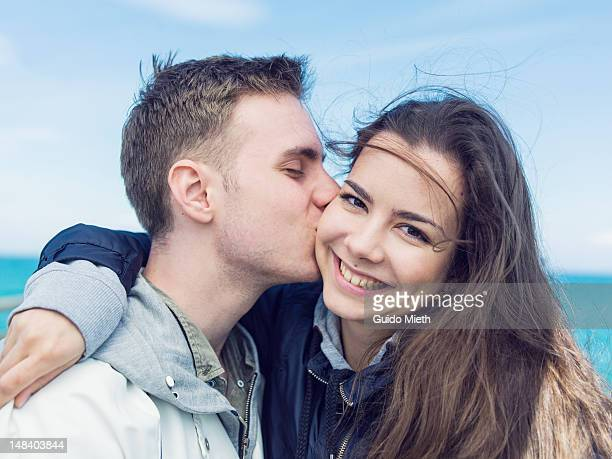 Young couple in love sea