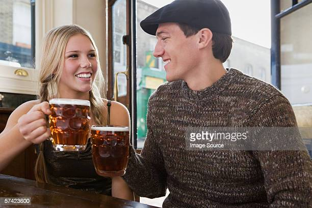 Young couple in pub