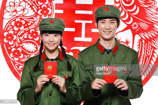 Young couple in uniform