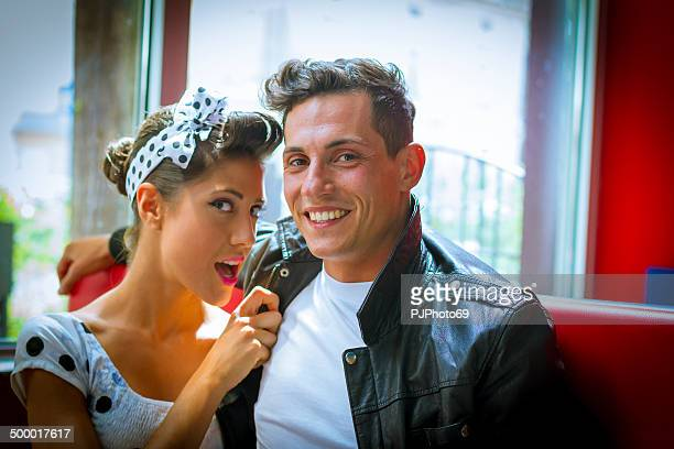 Young couple in vintage bar - 1950's style