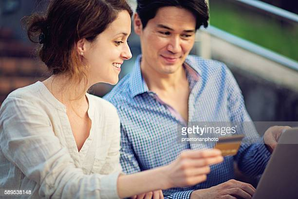 Young couple is shopping online