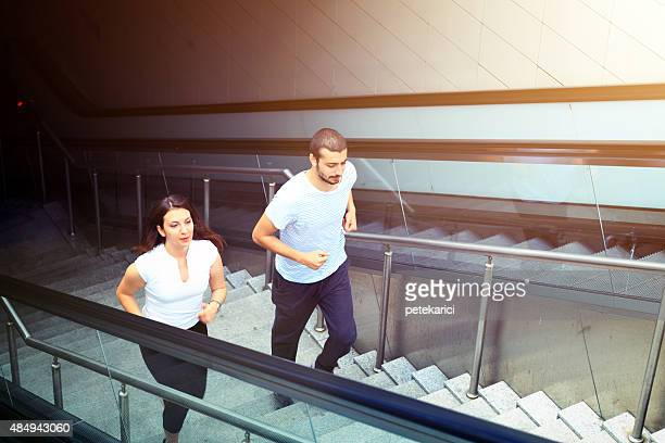 Young couple jogging in Istanbul