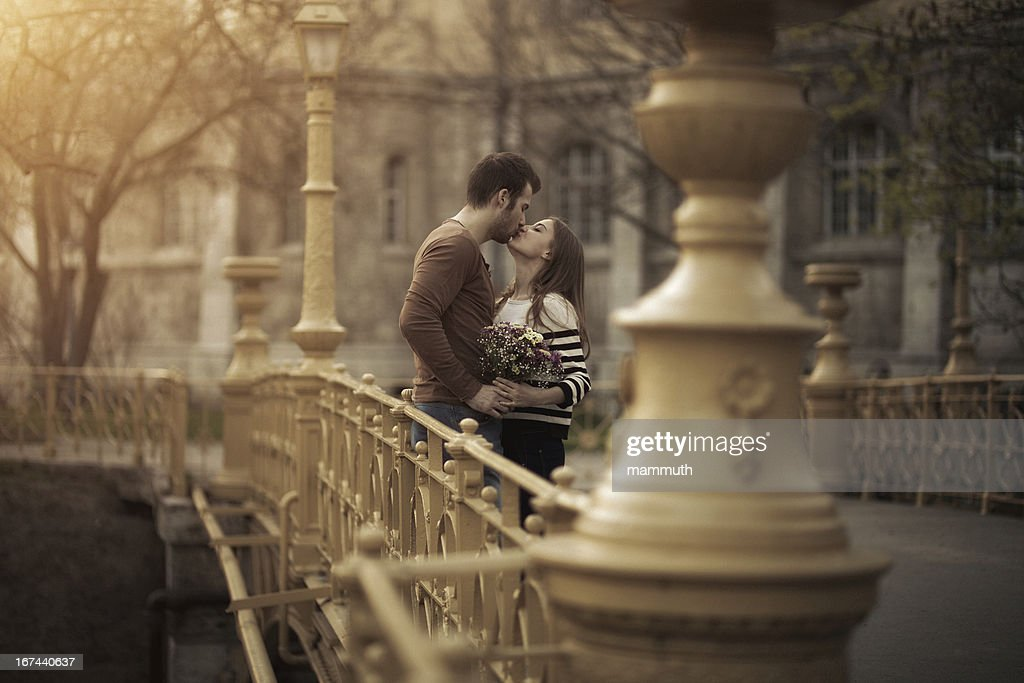 young couple kissing : Stock Photo