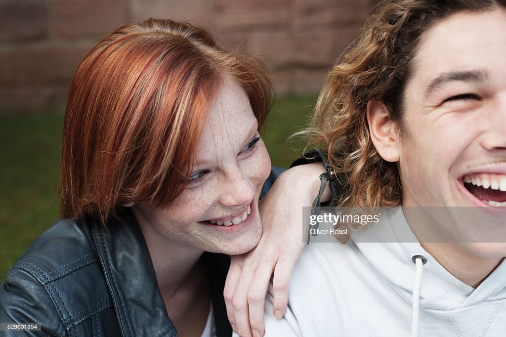 Young couple laughing : Stock Photo