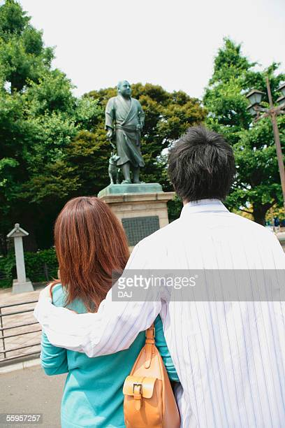 Young Couple Looking At Bronze Statue, Takamori Saigo