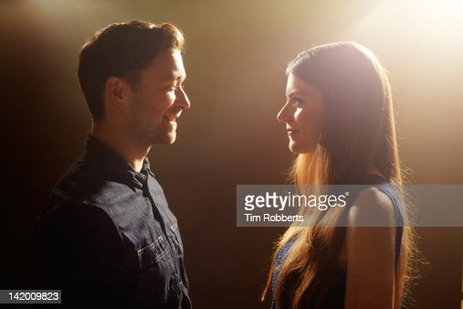 Young couple looking at each other.