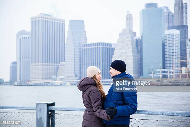 Young couple, man and woman, in the Manhattan