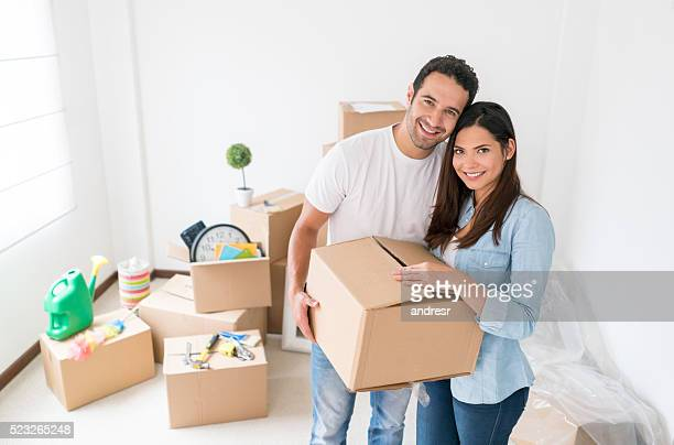 Young couple moving to a new house