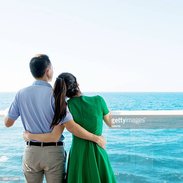Young couple on a cruise ship