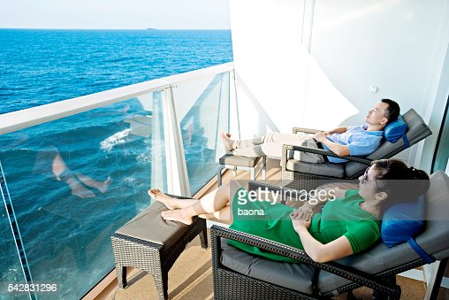 Young couple on a cruise ship : Stock Photo
