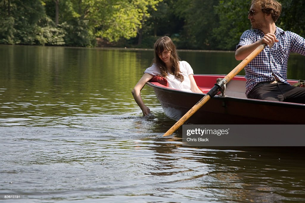 Young Couple on a Lake rowing a Bo : Stock Photo