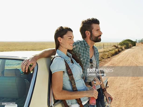 young couple on a roadtrip