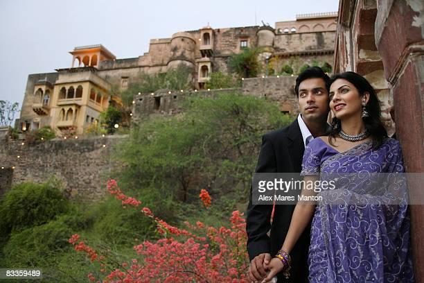 young couple on balcony