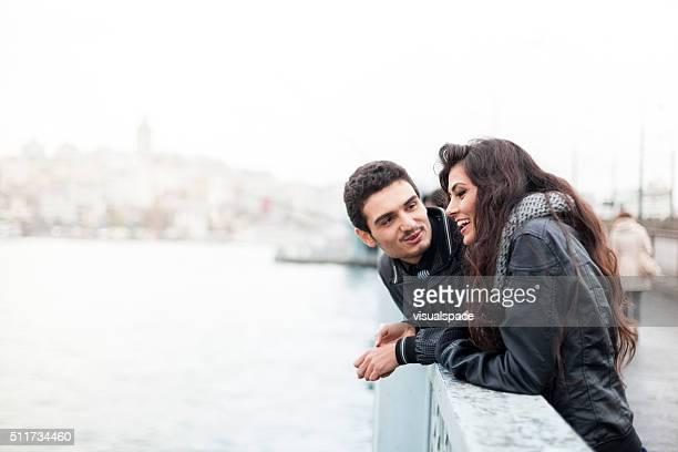 Young Couple On The Galata Bridge In Istanbul