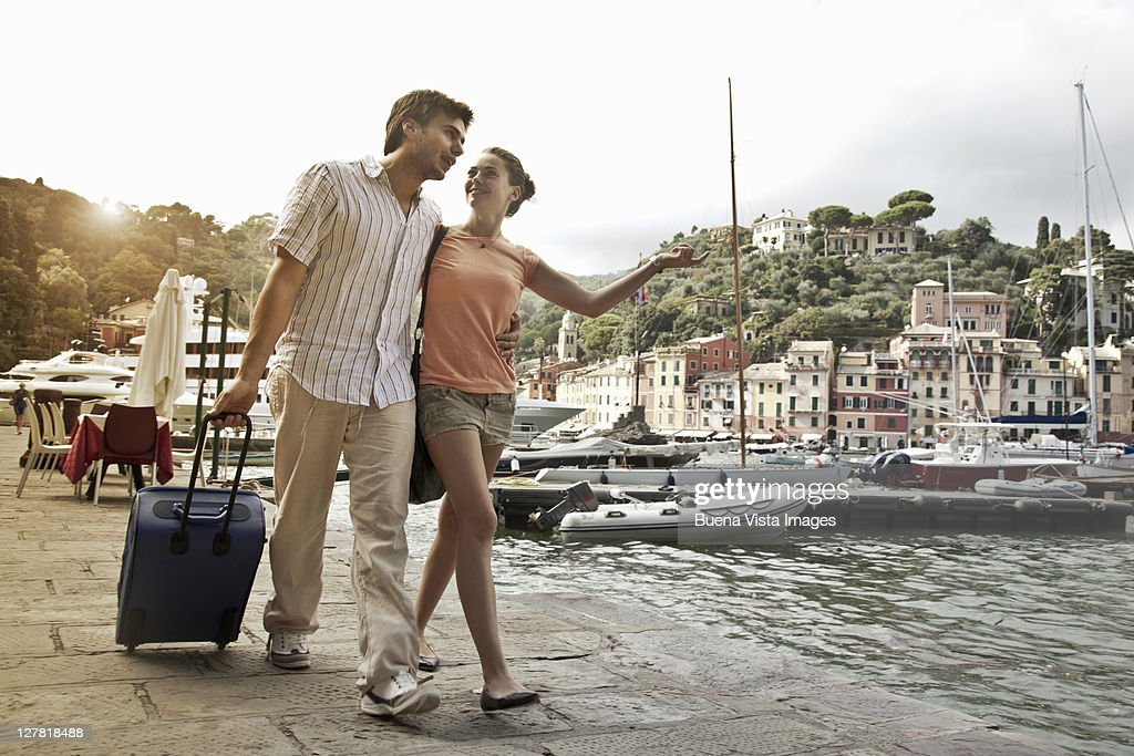 Young couple on vacation in Portofino : Stock Photo