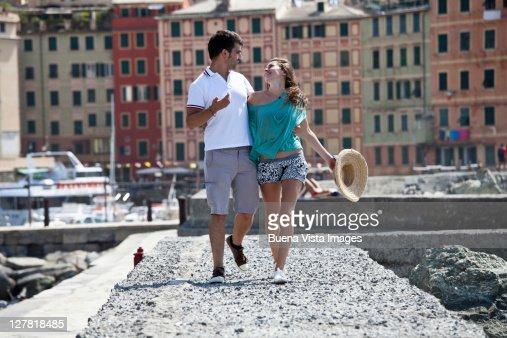 Young couple on vacation on Italian riviera : Stock Photo