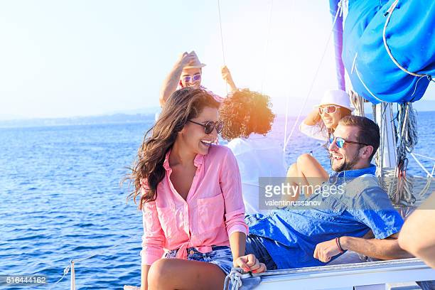 Young couple on vacation with friends