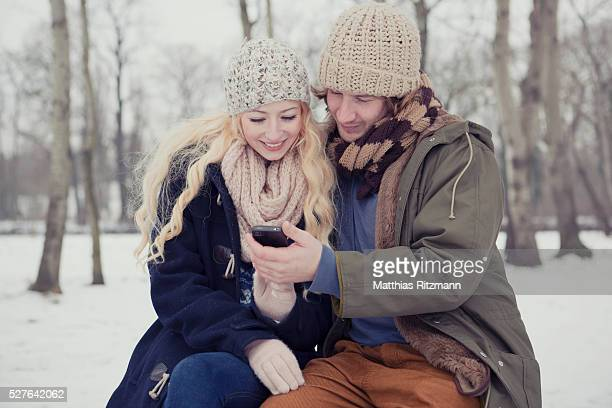 Young couple outside in winter
