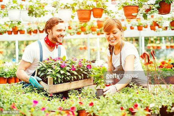 若いカップル植物園のスタートアップビジネスます。