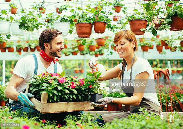 Young Couple Plant Nursery Startup Business