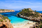 View of Cala des Moro beach and its azure blue water, Majorca island, Spain
