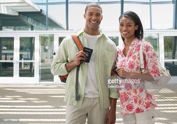 Young couple preparing to travel