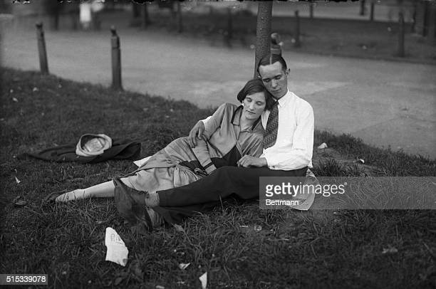 Young couple resting in park
