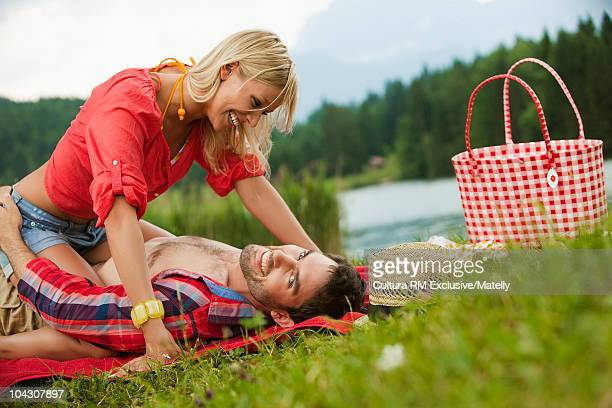 Young couple romancing in the nature
