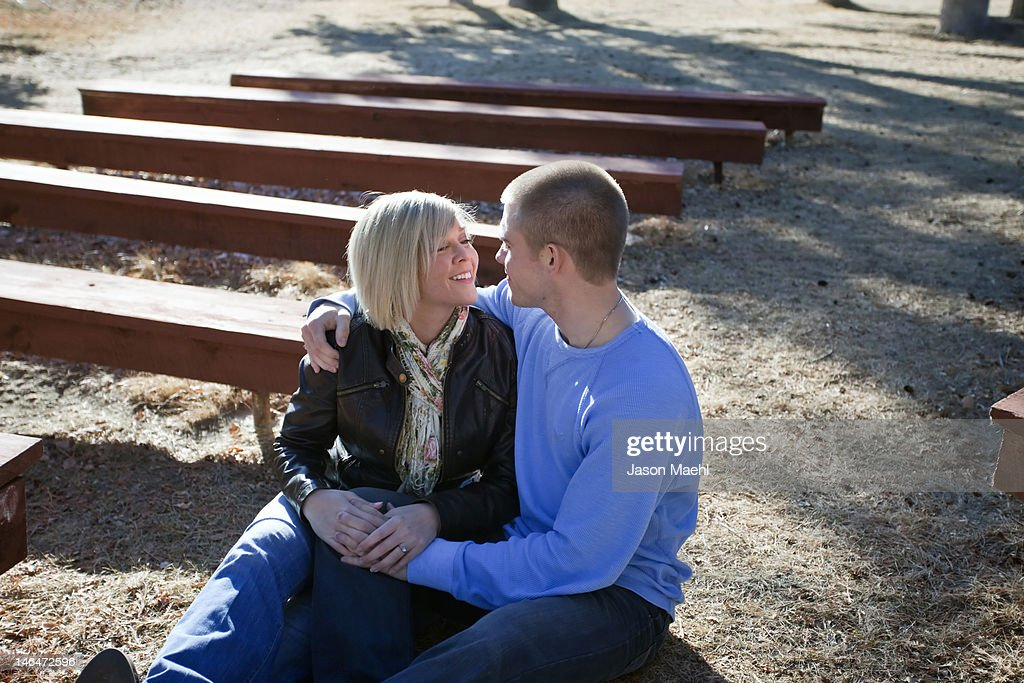 Young couple romancing : Stock Photo