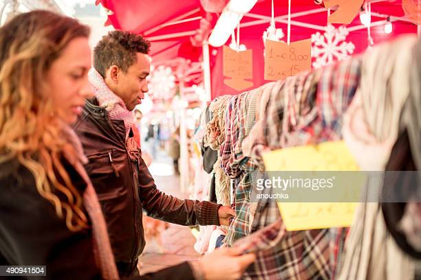 Young couple shopping at Milan Christmas Market