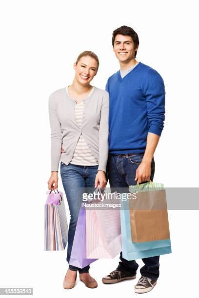 Giovane coppia Shopping-isolato