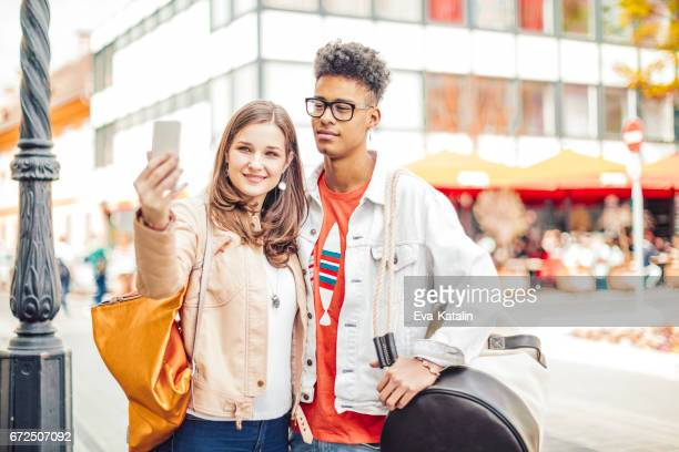 Young couple spending time together in the city