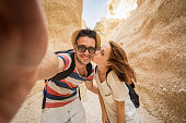 Couple of lovers take a selfie during thier trip - Hikers and caucasian people - people, lifestyle and nature concept