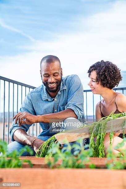 Young couple urban gardening together
