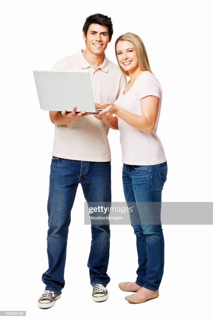 Young Couple With a Laptop - Isolated : Stock Photo