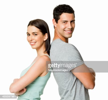Young Couple With Backs Together - Isolated