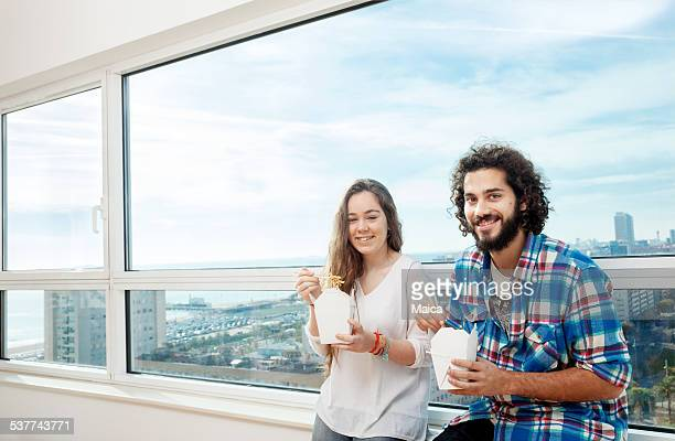 Young Couple with lunch box