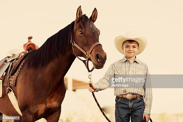 Young Cowboy and Horse